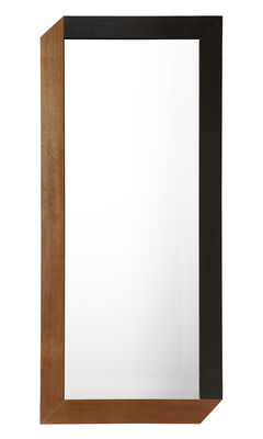Decoration - Mirrors - Tusa Wall mirror - 90 cm x 40 cm by Internoitaliano - H 90 cm - Glass, Natural walnut, Teinted walnut