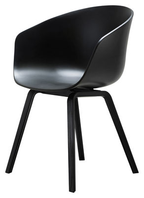 Furniture - Chairs - About a chair AAC22 Armchair - Plastic shell & wood legs by Hay - Black / Black feet - Polypropylene, Tinted oak