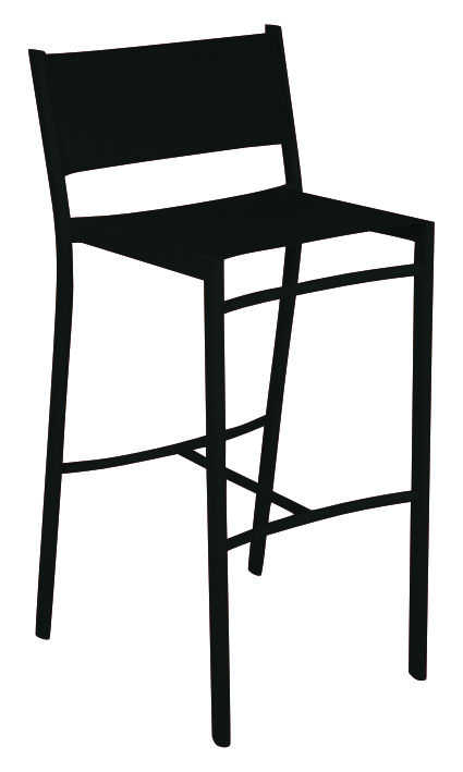 Furniture - Bar Stools - Costa Bar chair - H 76 cm - Canvas by Fermob - Liquorice - Aluminium, Polyester cloth