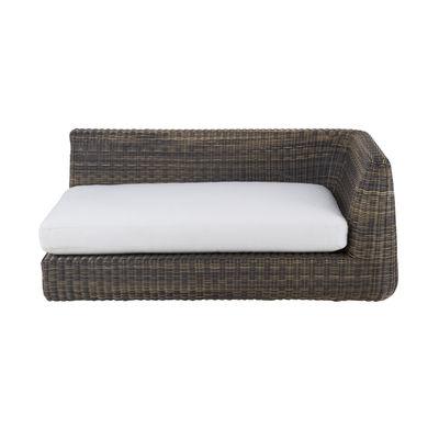Canapé modulable Agorà / Module accoudoir Gauche - L 160 cm - Unopiu blanc écru,marron tropical en matière plastique