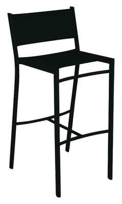 Mobilier - Tabourets de bar - Chaise de bar Costa / H 76 cm - Toile - Fermob - Réglisse - Aluminium, Toile polyester