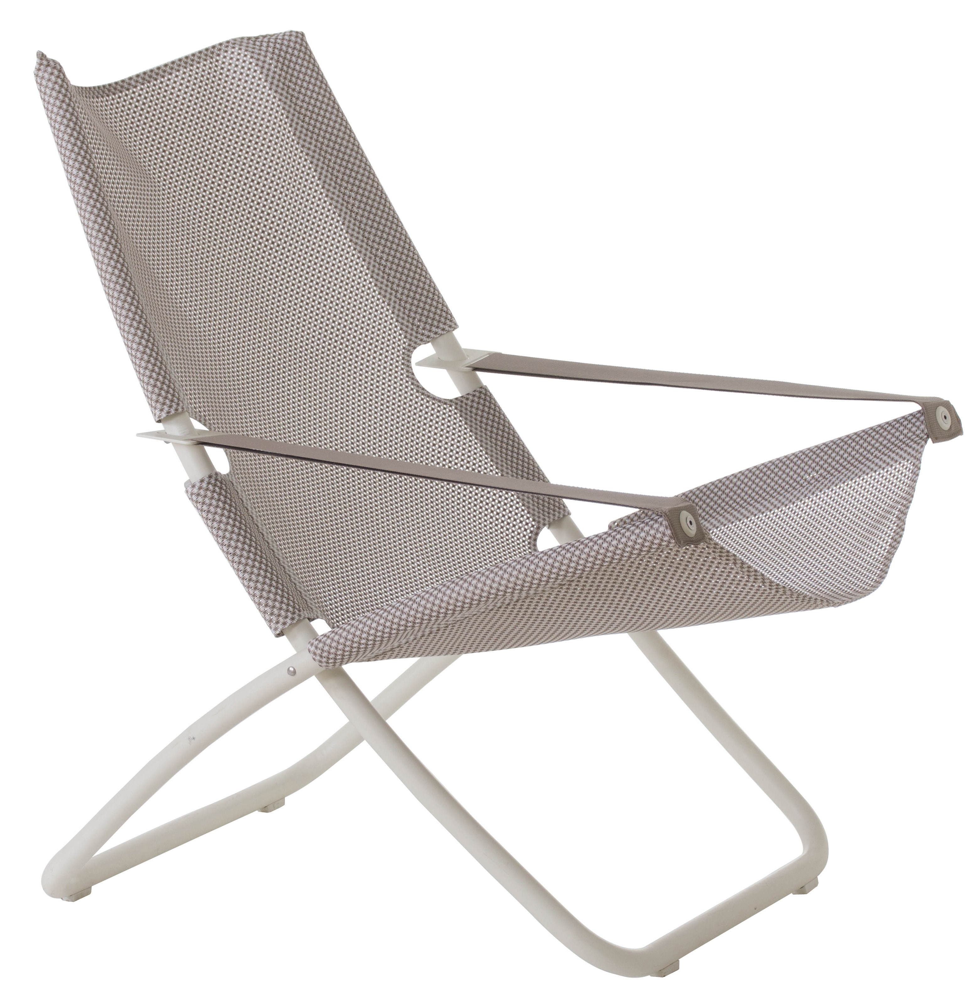Outdoor - Fauteuils - Chaise longue Snooze / Pliable - 2 positions - Emu - Glace / Structure blanche - Acier, Tissu