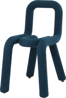 Mobilier - Chaises, fauteuils de salle à manger - Chaise rembourrée Bold / Tissu - Moustache - Bleu canard - Acier, Mousse polyuréthane, Tissu