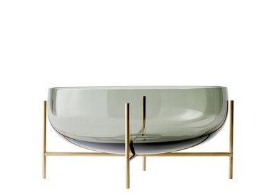 Coupe Echasse /Ø 29 x H 28 cm - Menu gris/or en métal/verre