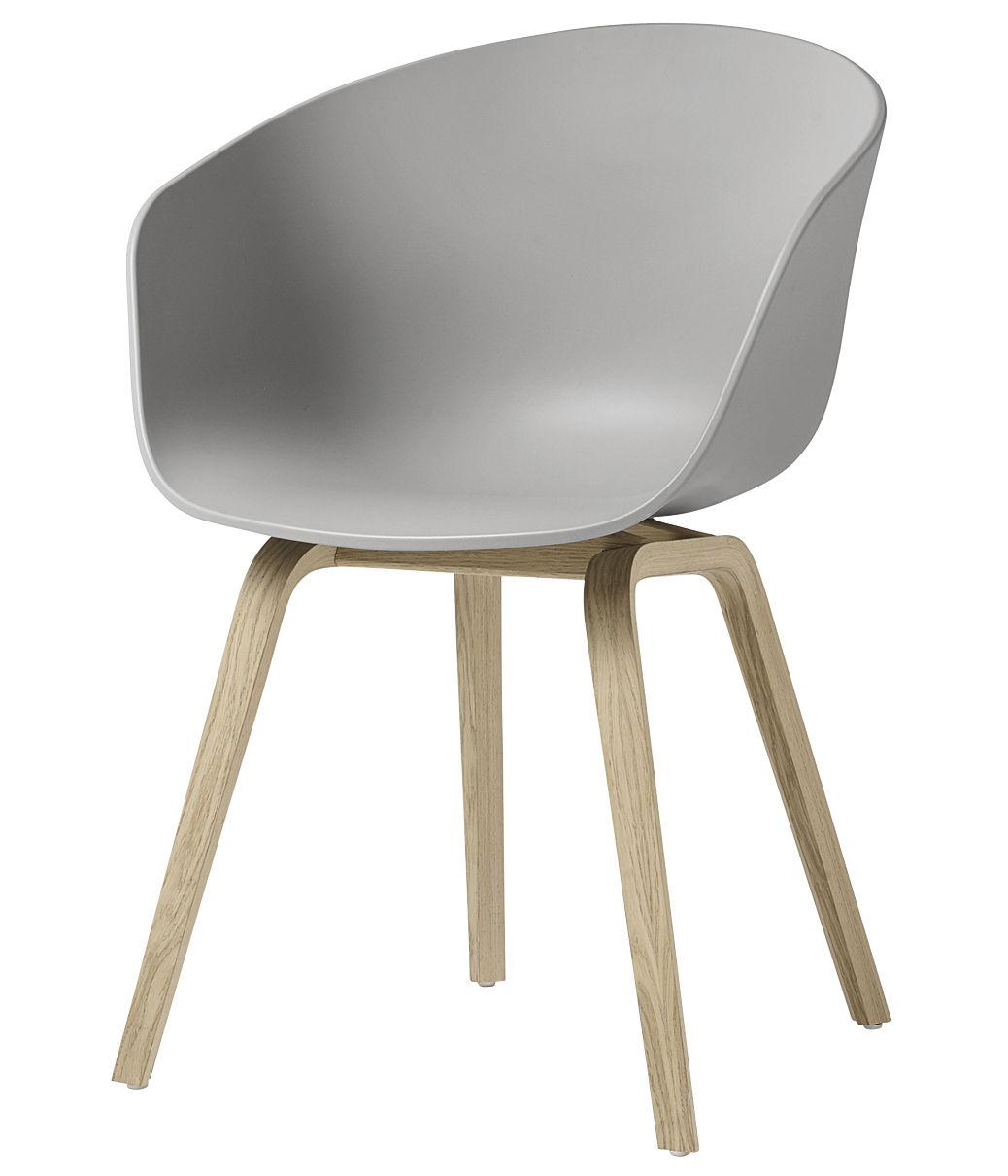Mobilier - Chaises, fauteuils de salle à manger - Fauteuil About a chair AAC22 / Plastique & chêne verni mat - Hay - Gris clair / Chêne verni mat - Chêne verni mat, Polypropylène