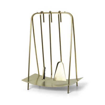 Furniture - Miscellaneous furniture - Port fireplace set - / 3 tools with stand by Ferm Living - Brass - Stainless steel