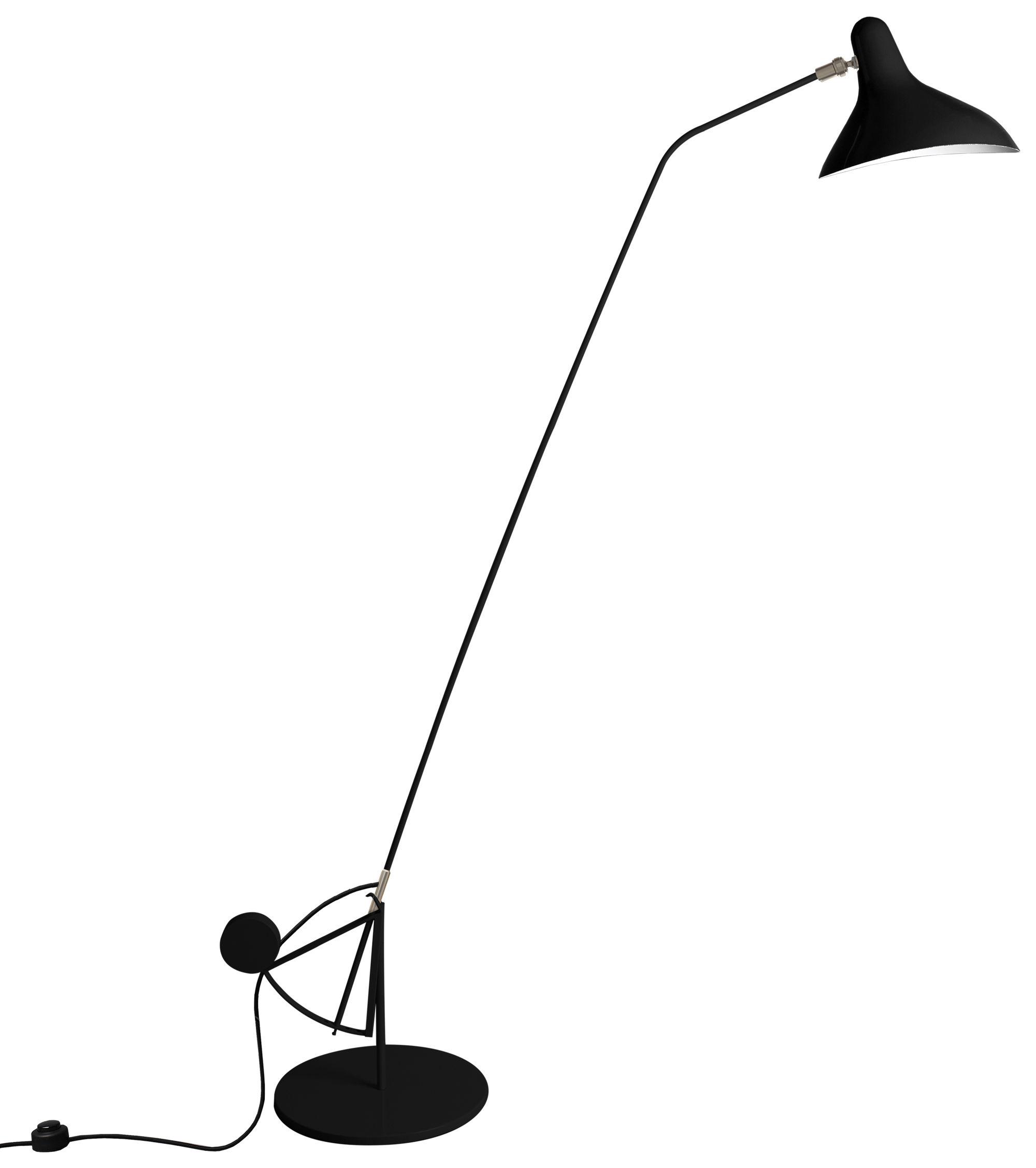 Lighting - Floor lamps - Mantis BS1 B Floor lamp by DCW éditions - Black / Black lampshade - Aluminium, Steel