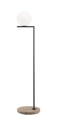 Illuminazione - Lampade da terra - Lampada a stelo IC F1 Outdoor - / H 135 cm - Base pietra di Flos - Marrone scuro / Base pietra beige - Acciaio inossidabile, Pietra, Vetro