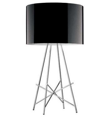Illuminazione - Lampade da tavolo - Lampada da tavolo Ray T - Lampada da tavolo di Flos - Métal Noir brillant - Acciaio cromato, Alluminio laccato