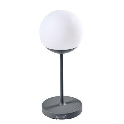 Illuminazione - Lampade da tavolo - Lampada senza fili Mooon! - / H 63 cm - Bluetooth di Fermob - Grigio tempesta - Alluminio, Polietilene