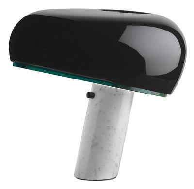 Luminaire - Lampes de table - Lampe de table Snoopy / Métal & base marbre - Flos - Noir brillant / Base blanche - Marbre de Carrare, Métal