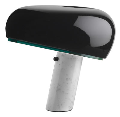 Lampe de table Snoopy / Métal & base marbre - Flos blanc,noir brillant en métal