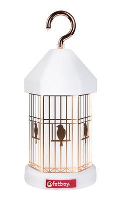 Leuchten - Tischleuchten - Lampie-ON Deluxe Lampe ohne Kabel / mit USB-Ladekabel - inkl. 4 Deko-Blenden - Fatboy - Weiß / Haken Kupfer - Polypropylen