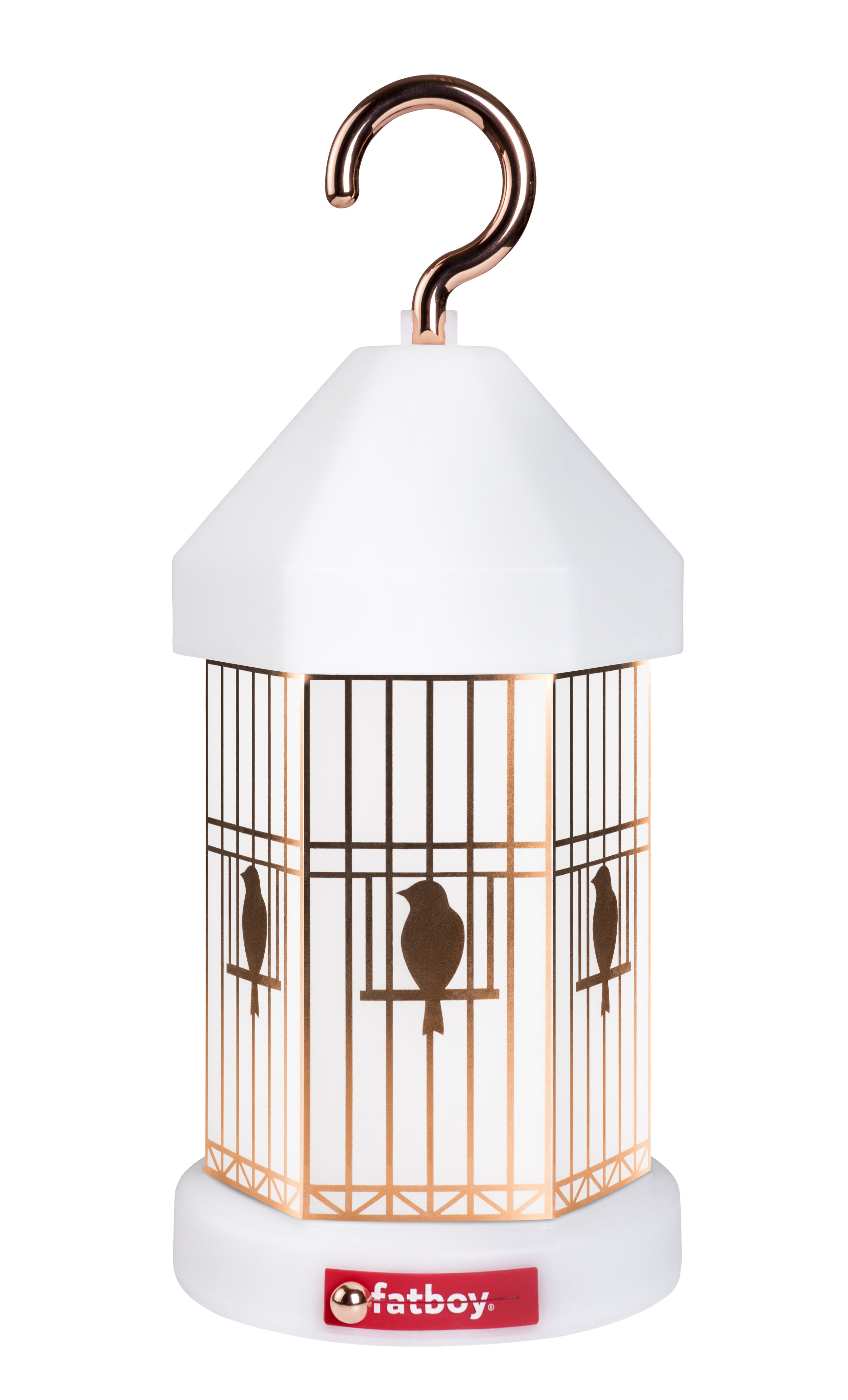 Luminaire - Lampes de table - Lampe sans fil Lampie-ON Deluxe / Recharge USB - 3 manchons décoratifs inclus - Fatboy - Blanc / Crochet cuivre - Polypropylène