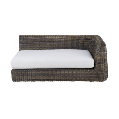 Outdoor - Garden sofas - Agorà Modular sofa - / Left armrest module - L 160 cm by Unopiu - Tropical brown / Ecru white cushion - Acrylic fabric, Aluminium, Foam, Waprolace synthetic fibre