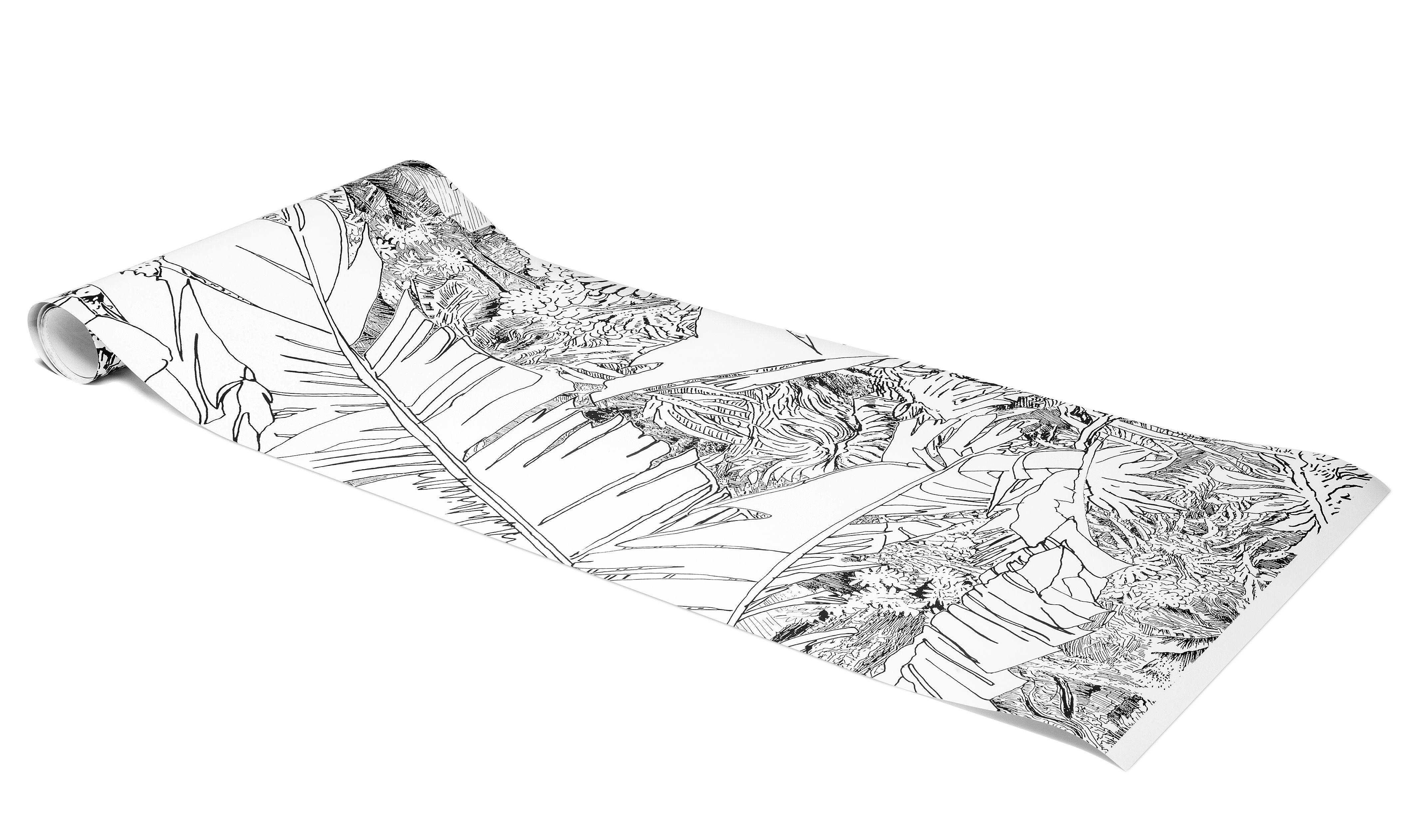 Papier Peint Jungle 1 1 Rouleau Larg 48 Cm Noir Fond Blanc