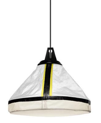 Lighting - Pendant Lighting - Drumbox Pendant - Ø 45 cm x H 37 cm by Diesel with Foscarini - White & fluorescent yellow border - Fabric, Metal