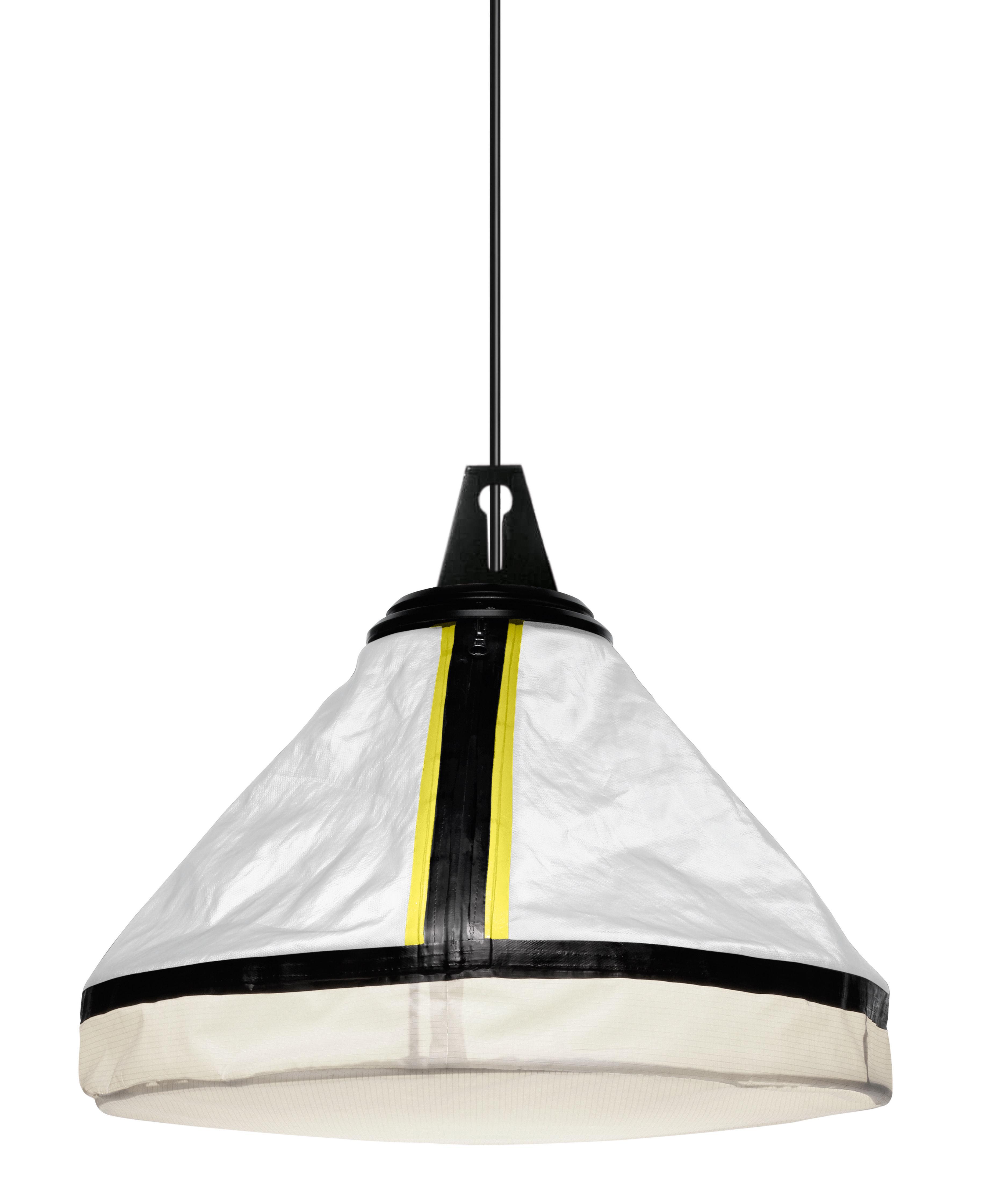 Leuchten - Pendelleuchten - Drumbox Pendelleuchte Ø 45 cm x H 37 cm - Diesel with Foscarini - Weiß & neongelbe Bordüre - Gewebe, Metall