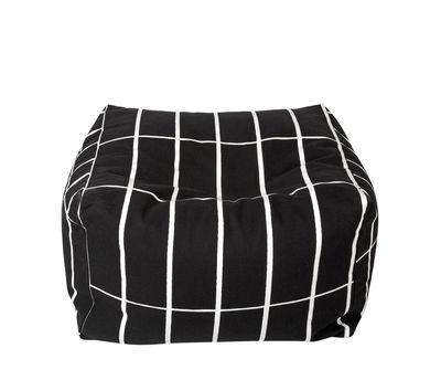 Pouf Tiiliskivi / 55 x 55 cm - Marimekko blanc,noir en tissu