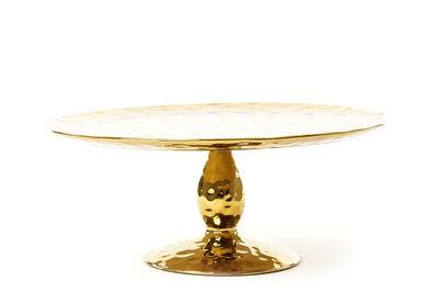 Présentoir à gâteau Fingers / Ø 32,7 cm - Seletti doré en céramique