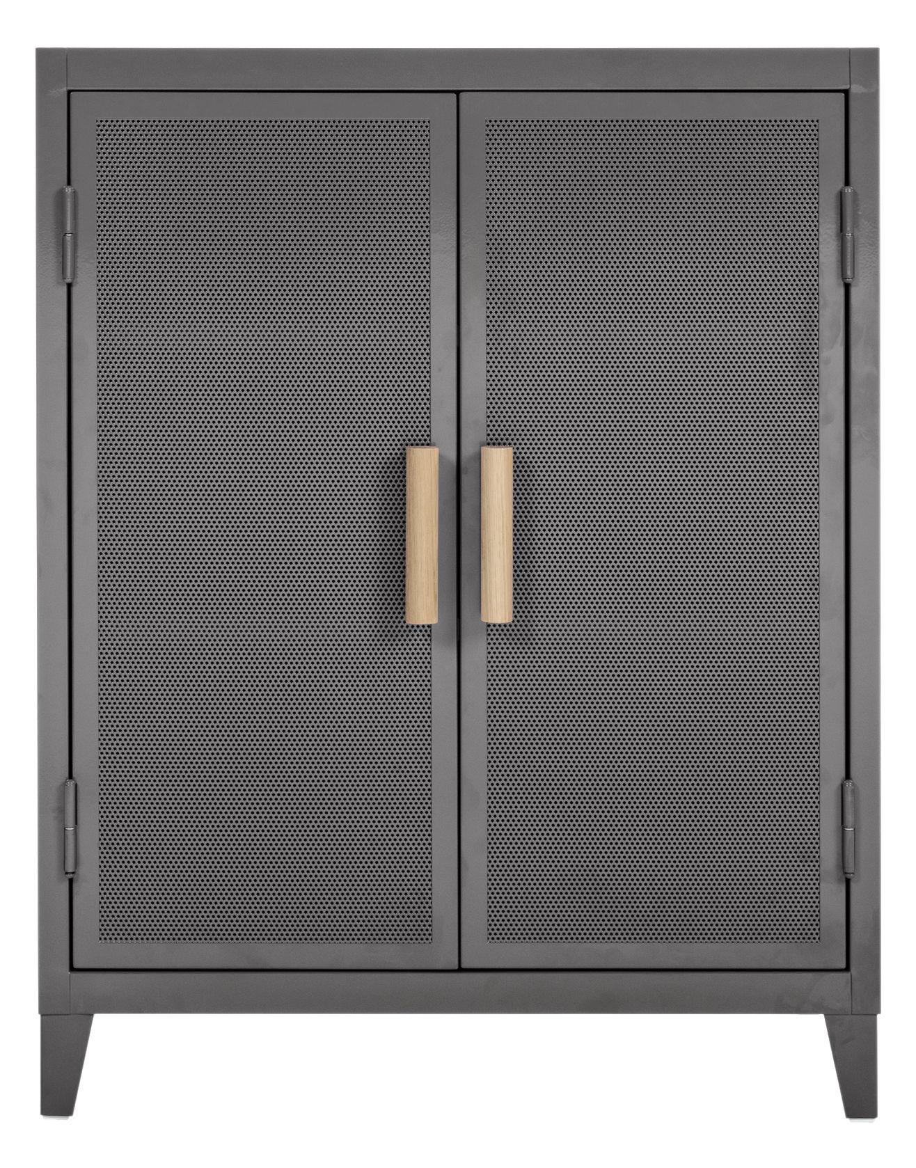 Mobilier - Meubles de rangement - Rangement Vestiaire bas Perforé / 2 portes - Tolix - Gris souris / Poignées chêne - Acier recyclé laqué, Chêne massif