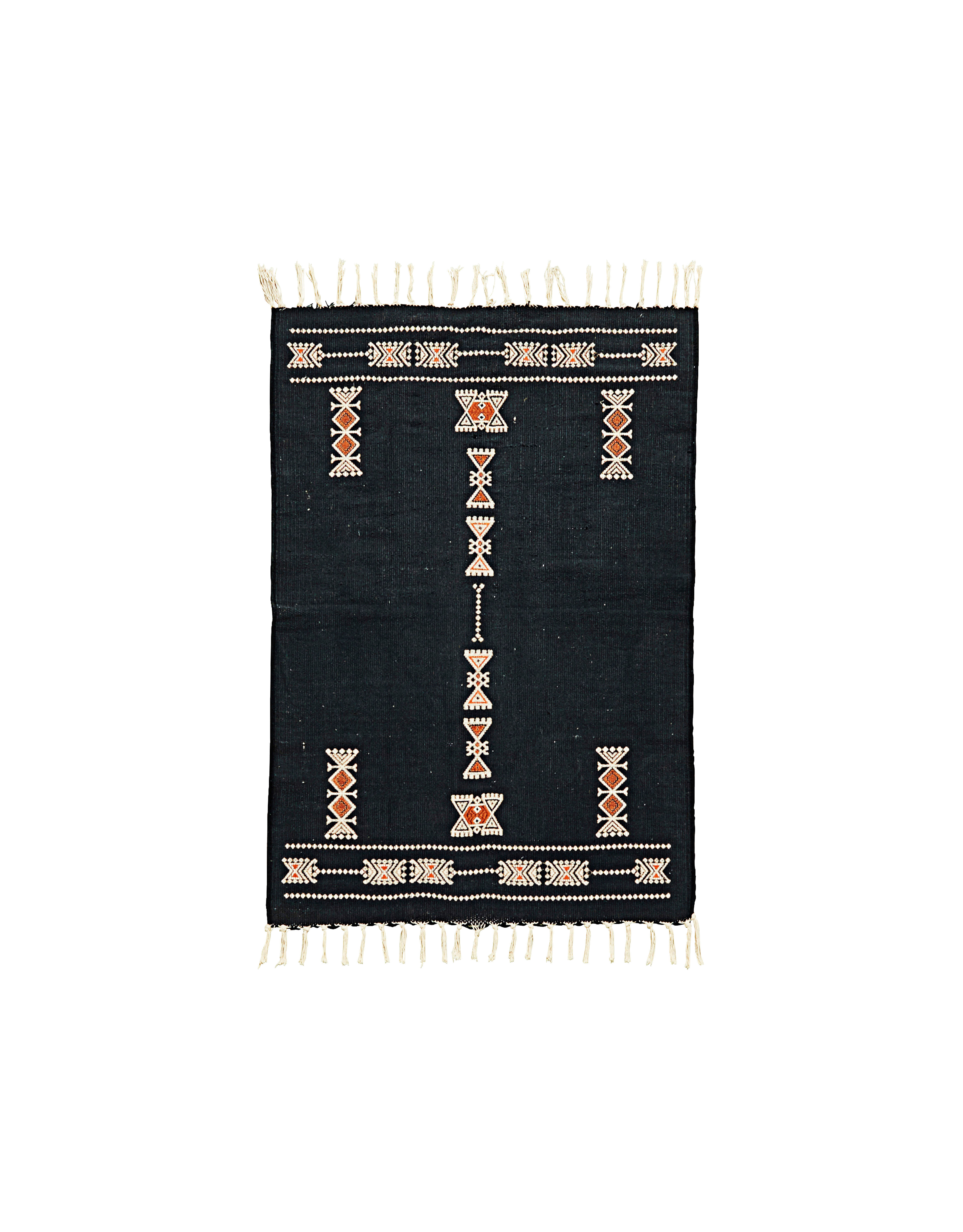 Decoration - Rugs - Mila Rug - / 90 x 60 cm by House Doctor - 90 x 60 cm / Dark blue - Cotton, Polyester