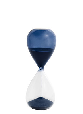 Sablier Time Medium / 15 minutes - H 15 cm - Hay bleu pétrole en verre