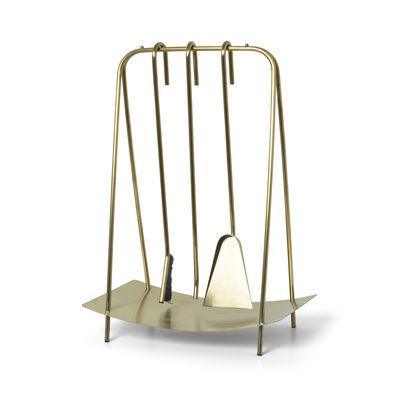 Arredamento - Complementi d'arredo - Serviteur de cheminée Port - / 3 utensili con supporto di Ferm Living - ottone - Acier inoxyadable
