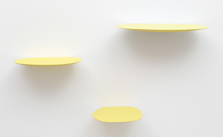 Furniture - Bookcases & Bookshelves - Isola Shelf - Ceramic - Set of 3 by Moustache - Yellow - Glazed ceramic
