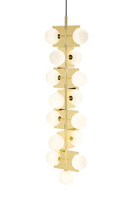 Illuminazione - Lampadari - Sospensione Plane Drop / L 43 cm x H 160 cm - Articolata - Tom Dixon - Ottone lucidato / Sfere bianche - Acciaio placcato ottone, Vetro