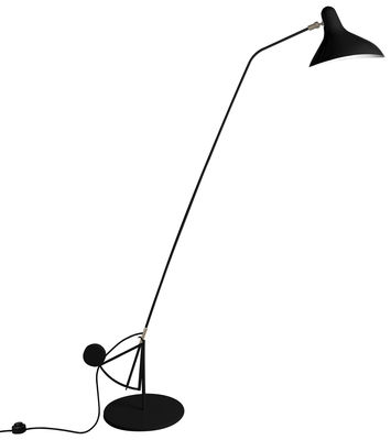 Leuchten - Stehleuchten - Mantis BS1 B Stehleuchte / Neuauflage des Originals aus dem Jahr 1951 - mit rundem Sockel - DCW éditions - Schwarz / Lampenschirm schwarz - Aluminium, Stahl
