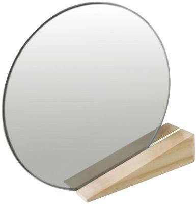 Dekoration - Spiegel - On the edge Stellspiegel - Thelermont Hupton - Helles Holz / Rille weiß - Accoya Holz, Spiegel-Finish