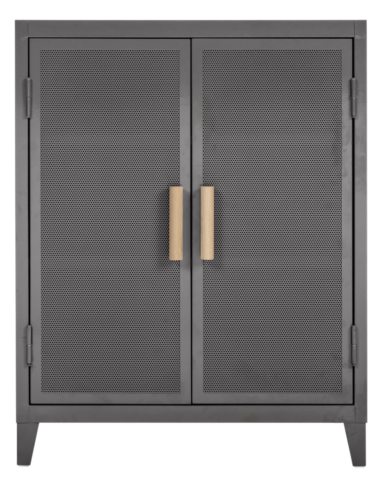 Furniture - Shelves & Storage Furniture - Vestiaire bas Perforé Storage - 2 doors by Tolix - Mouse grey - Lacquered steel, Solid oak