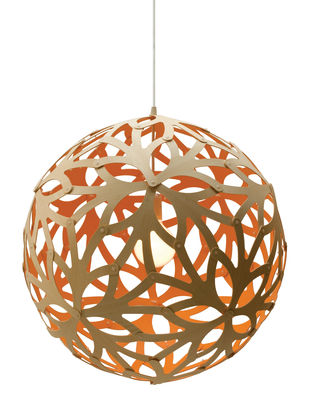 Luminaire - Suspensions - Suspension Floral / Ø 40 cm - Bicolore orange & bois - David Trubridge - Orange / bois naturel - Bambou