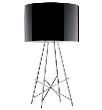 Lighting - Table Lamps - Ray T Table lamp by Flos - Glossy black metal - Chromed steel, Lacquered aluminium