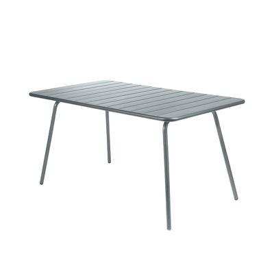 Table rectangulaire Luxembourg / 6 personnes - 143 x 80 cm - Aluminium - Fermob gris orage en métal