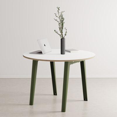 Table ronde New Modern / Ø 110 cm - Stratifié / 4 à 6 personnes - TIPTOE vert en métal/bois