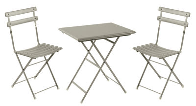 Furniture - Coffee Tables - Arc en Ciel Table & seats set - Table 70x50cm + 2 chairs by Emu - Grey - Varnished steel