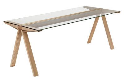 Mobilier - Tables - Table Traverso / 200 x 86 cm - Valsecchi 1918 - Bois naturel / Plateau verre transparent - Frêne massif, Verre