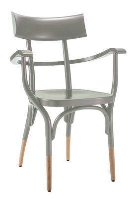Furniture - Chairs - Czech Armchair - / Wood by Wiener GTV Design - Grey / Natural wood feet - Beechwood plywood, Curved solid beechwood