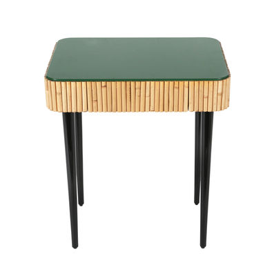 Furniture - Miscellaneous furniture - Riviera Bedside table - / Rattan - Drawer by Maison Sarah Lavoine - Green / Natural rattan - Lacquered wood, Natural rattan