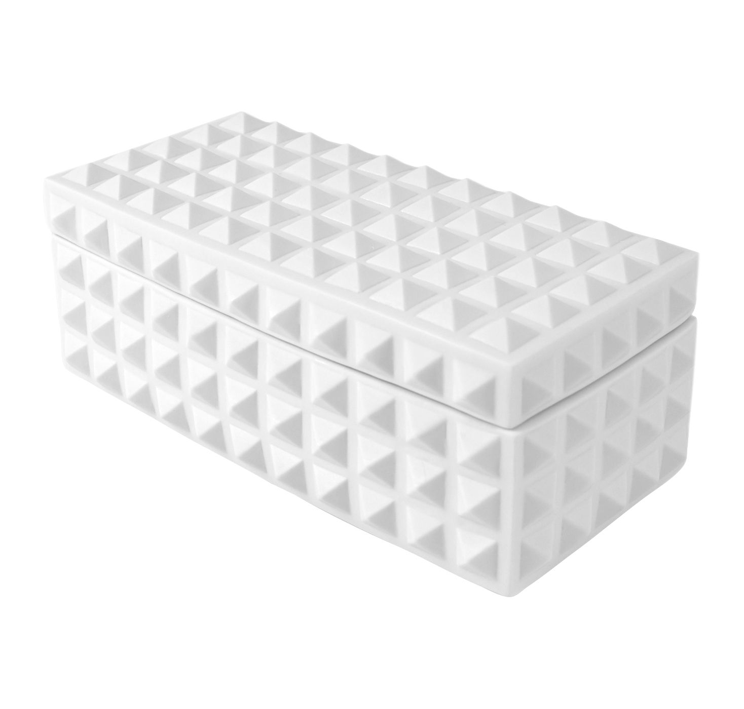 Decoration - Decorative Boxes - Charade Square Studded Box - Porcelain - 13 x 25 cm by Jonathan Adler - Matte white - Matt white porcelain