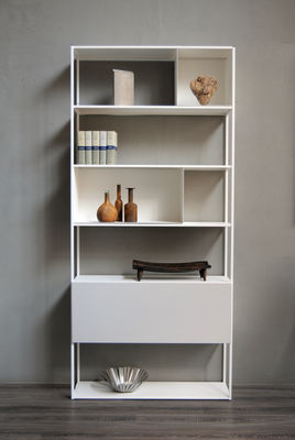 Möbel - Regale und Bücherregale - Easy Irony Bücherregal / mit Schrankelementen - L 104 cm x H 226 cm - Zeus - Weiß (gaufriert) - Acier peint époxy