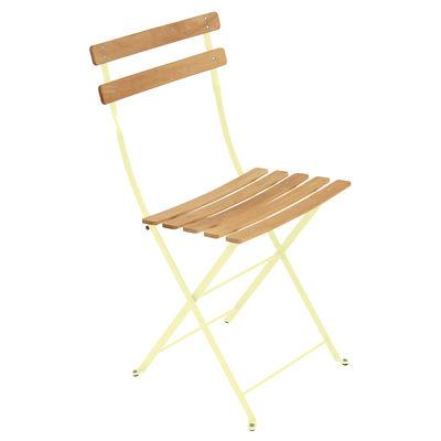 Mobilier - Chaises, fauteuils de salle à manger - Chaise pliante Bistro / Bois - Fermob - Citron givré / Bois - Acier peint, Hêtre traité