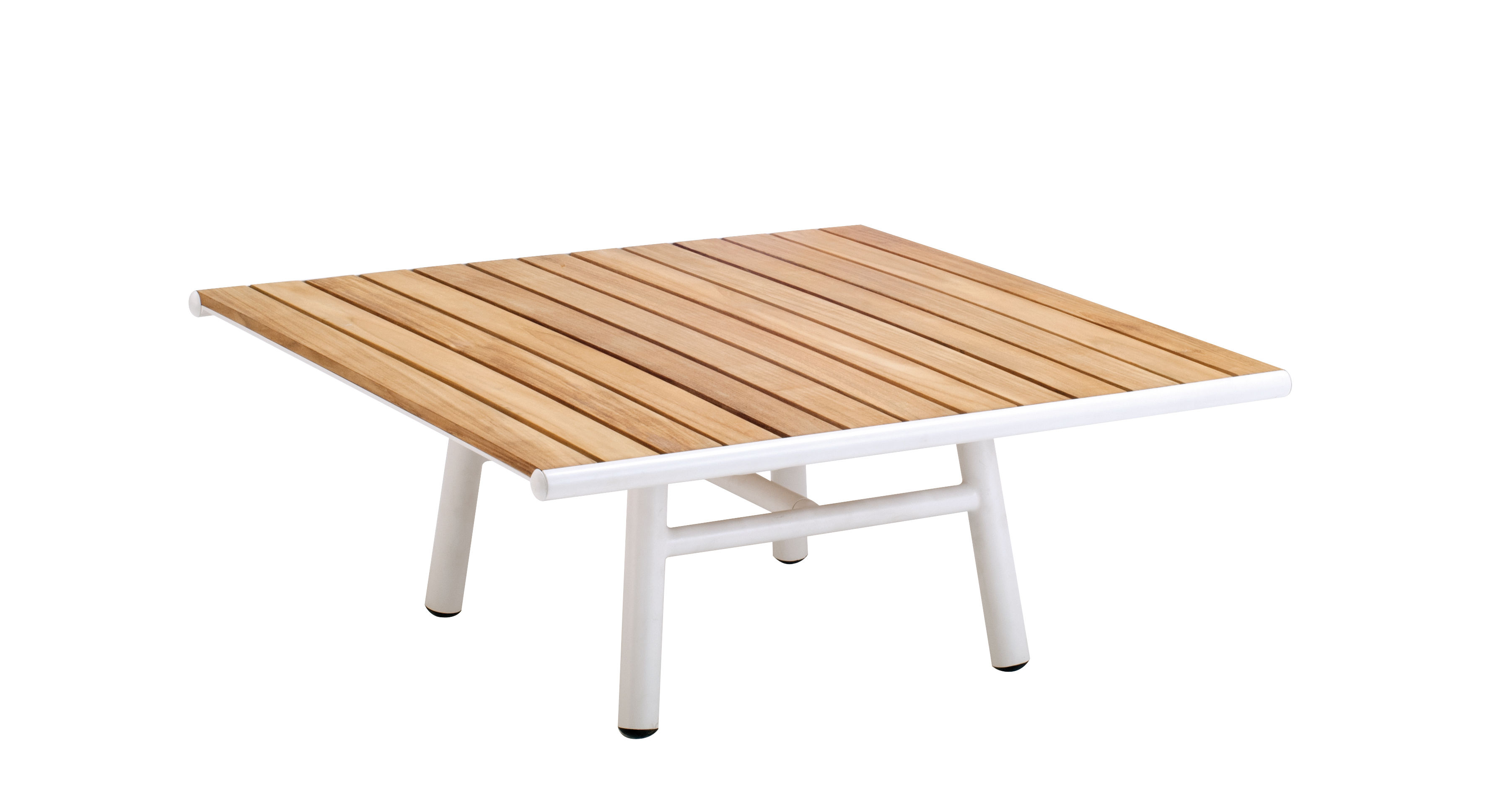 Furniture - Coffee Tables - Pilotis Coffee table - Teak / 100 x 100 cm by Vlaemynck - Teak / White - Lacquered aluminium, Oiled teak