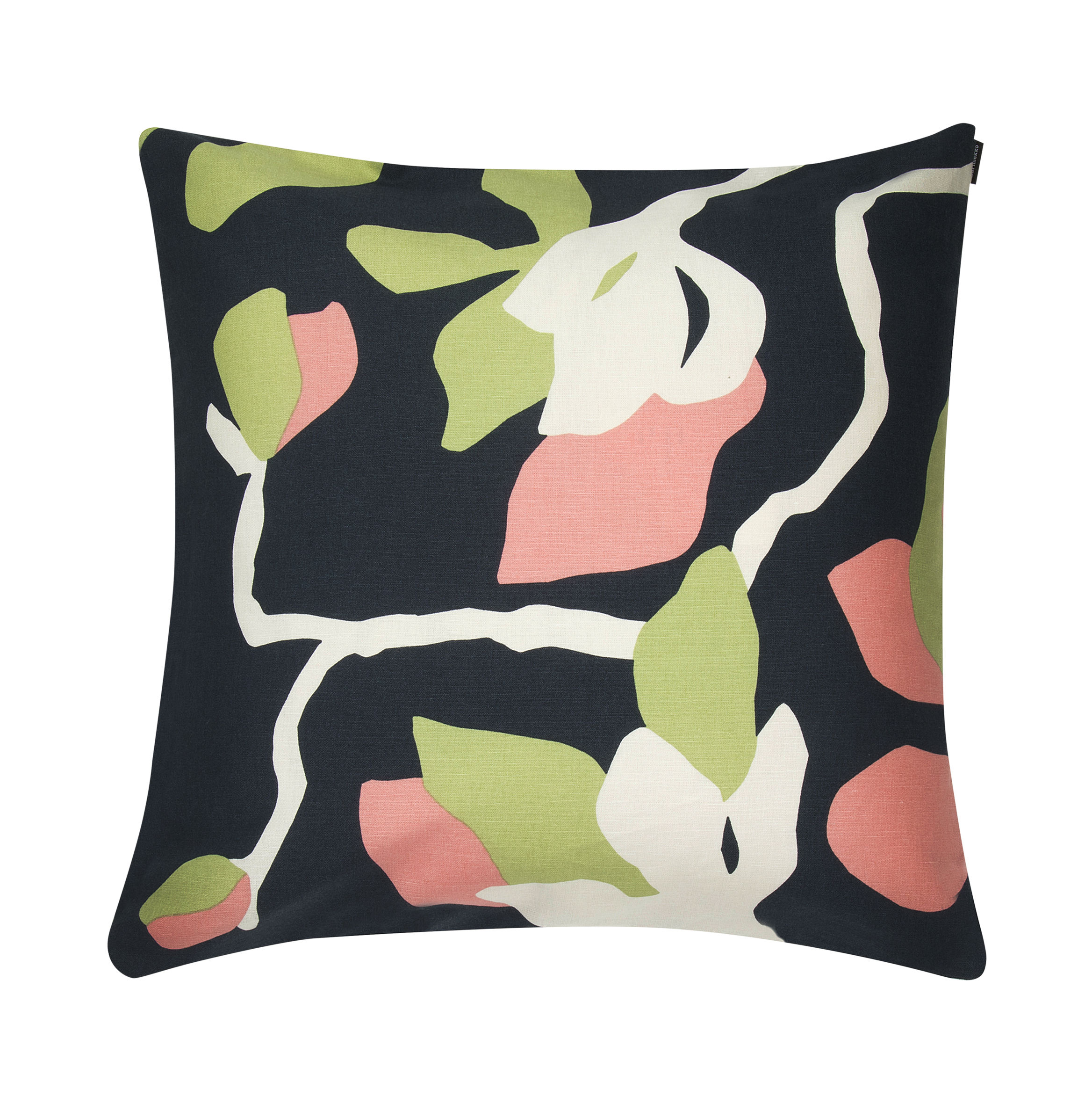 Decoration - Bedding & Bath Towels - Mielitty Cushion cover - / 50 x 50 cm by Marimekko - Mielitty / Dark blue & pink - Cotton, Linen