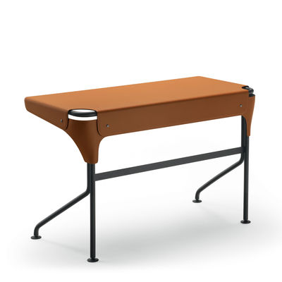 Furniture - Office Furniture - Tucano Desk - / Saddle leather by Zanotta - Brown leather - Leather, Varnished steel