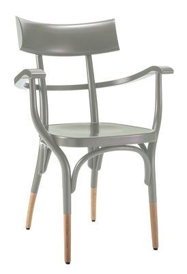Mobilier - Chaises, fauteuils de salle à manger - Fauteuil Czech / Bois - Wiener GTV Design - Gris / Pieds bois naturel - Contreplaqué de hêtre, Hêtre massif cintré
