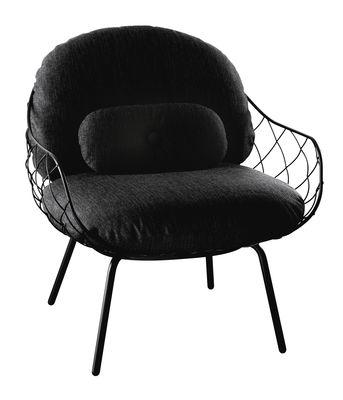 Pina Outdoor Gepolsterter Sessel / Stoffbezug - mit Lendenkissen - Magis - Schwarz