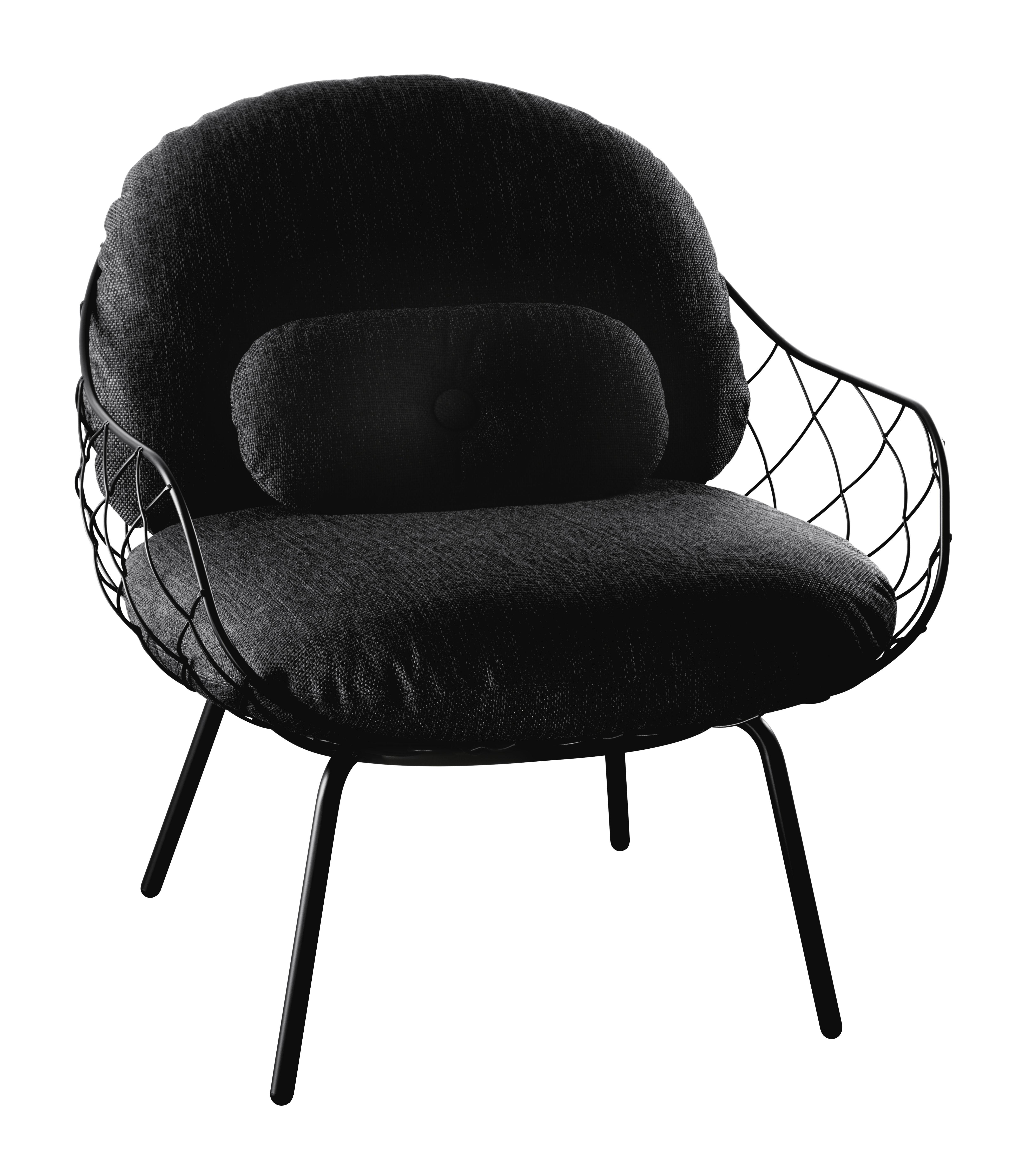 Möbel - Lounge Sessel - Pina Outdoor Gepolsterter Sessel / Stoffbezug - mit Lendenkissen - Magis - Gestell schwarz / Kissen schwarz - gefirnister Stahl, Gewebe, Polyurethanschaum